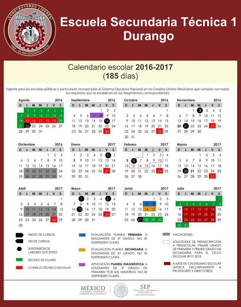 Calendario Escolar 2016-2017 (185 días)